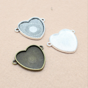 3 15pcs Double lift 25x25mm heart patch bottom support time precious metal $4.72
