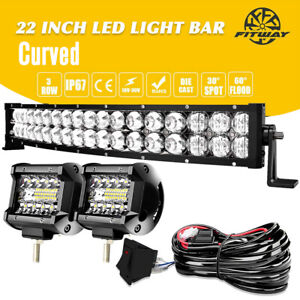12 14inch LED Light Bar Work SPOT FLOOD Combo Driving Truck ATV Wiring For Jeep $42.73