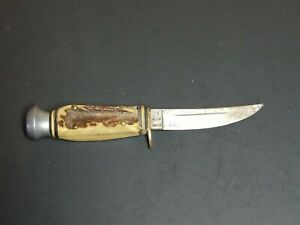 Vintage A.Wingen Jr. Solingen Othello Bird Trout Beautiful Stag Hunting Knife $49.95