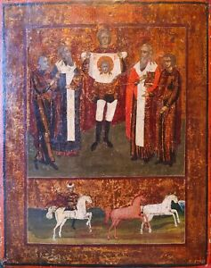 ANTIQUE 19c HAND PAINTED RUSSIAN ICON OF CATHEDRAL OF ST.MIHAIL $975.00