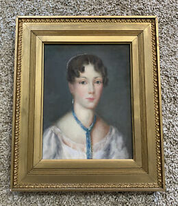 Antique Original Portrait Painting by Caroline Binyon Gold Wooden Frame $550.00