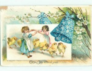 Pre Linen easter CHICKS PLAY UNDER GIRLS JOINING ARMS TOGETHER W6972 C $3.21