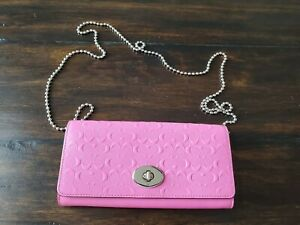 Coach Purse Wallet in Bright Pink Leather with Detachable Silver quot;Chainquot; Strap