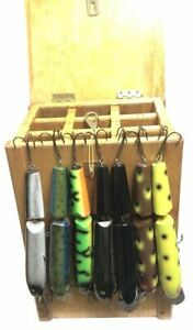 Vintage Custom Made Wood Oak Musky Lure Box with 7 Leo Lures 11quot; Hog Musky Lures