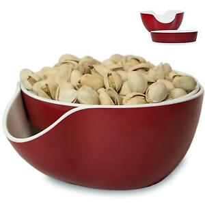 Pistachio Bowl Snack Serving Double Dish Peanut Bowl with Seeds Shell Storage $21.97