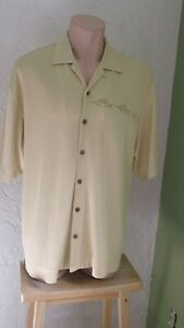 Tommy Bahama Casual Front Button Short Sleeve Shirt Mens Size Lg Gold $12.99