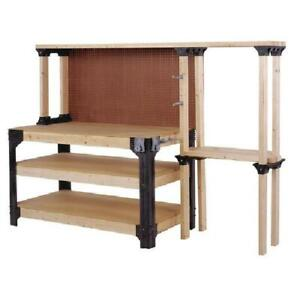 Workbench Garage Shop Work Table Wood Shelves Legs Links Heavy Duty DIY Storage $70.99