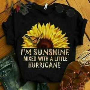 I#x27;m Sunshine Mixed With A Little Hurricane Ladies T Shirt Vintage Men Gift Tee $14.69