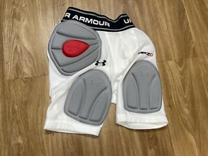 MEN'S UNDER ARMOUR MPZ2 WHITE PADDED HEATGEAR COMPRESSION SHORTS Youth Large NWT $20.00