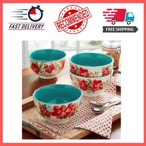 The Pioneer Woman Vintage Floral 4 Piece Footed Bowl Set $14.99