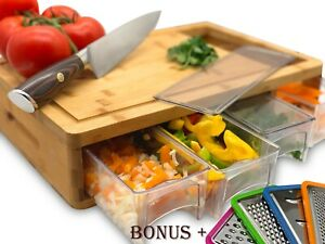 Bamboo Cutting Board With Trays and LIDS Graters $12.95