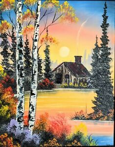 Original Signed Sunset Cabin Oil Painting Art Decor 16x20 Canvas Bob Ross Style $100.00