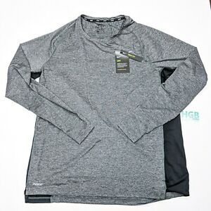 Nike Dry Long Sleeve T Shirt Mens Training Sport Gym Grey Black CU4097 010 $23.95
