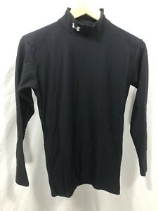 Under Armour Cold Gear Mock Fitted White Long Sleeved Shirt Sz Medium $14.99