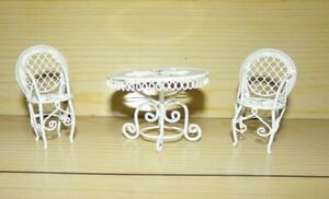 White Metal Wicker Wire Dollhouse Table with 2 Matching Chairs #1 $16.72