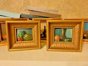 REDUCED ANTIQUE Original MINIATURE OIL Framed Still Life Painting PAIR VINTAGE $55.00
