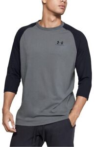 NWT Men's Under Armour Sportstyle LARGE Gray Black 3 4 Sleeve Tee Shirt $18.99