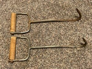 set lot of 2 13quot; STRAW HAY MEAT ICE HOOK WITH WOOD HANDLE
