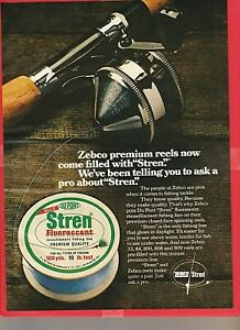 Vintage Original 1971 ZEBCO Model 44 Casting Reel and STREN Line Advertisement