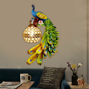 Resin Wall Sconce 1 Light Modern Crystal Colorful Wall Lamp Peacock Shape 8W $109.06