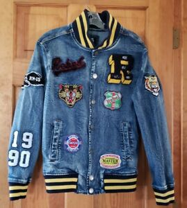 Rebel Minds Denim Jacket Multiple Patches Size S Small