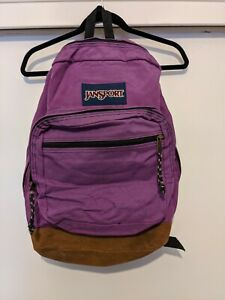 JANSPORT Originals Leather Bottom Purple Backpack 90s Style Classic Travel Bag $30.00