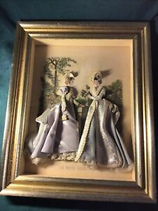 VINTAGE French Fashion LA MODE ILLUSTREE Embellished 3 D Shadow Box