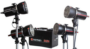 Norman 20 20 Power Pack with Four LH2400 Flash Heads Snoot Reflectors amp; Bulbs