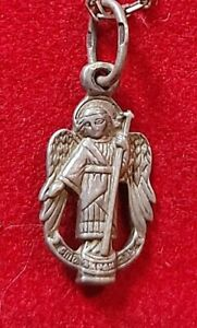 ANTIQUE 19c ORTHODOX RUSSIAN SILVER PENDANT OF ST.MIHAIL WITH CHAIN $419.00