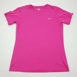 Nike Fit Dry Womens Athletic Crew Neck T Shirt Magenta Sz M Stretch $11.99