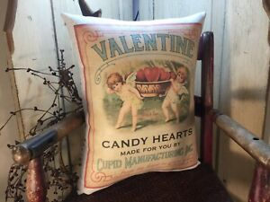 SWEET PRIMITIVE VICTORIAN ANTIQUE VINTAGE STYLE VALENTINE CUPID HEART RED PILLOW