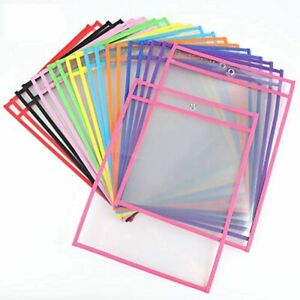 Lawei 30 Pack Dry Erase Pockets Sheet Protectors 10 X 14 Inch Reusable Clear
