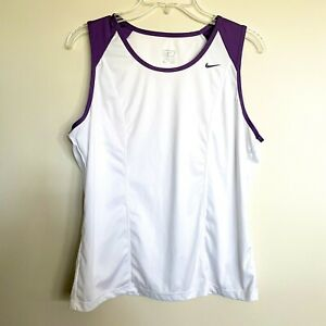 Womens Nike XL Purple White Performance Tank Workout Yoga Running Crossfit $14.99