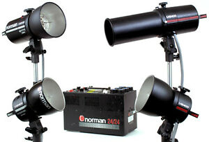 Norman 24 24 Power Pack with Four LH2400 Flash Heads Snoot Reflectors amp; Bulbs