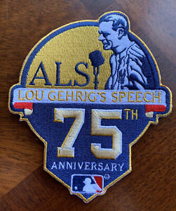 RARE Lou Gehrig 75th Ann. New York Yankees 5in. Iron Sew On Embroidered Patch $16.99