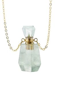 Natural Stone Green Crystal Perfume Bottle Necklace Essential Oil $24.95