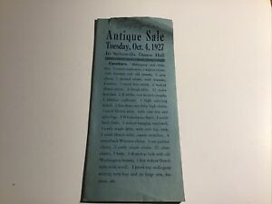Sellersville PA Bucks County 1927 Pamphlet Antique Sale At Dance Hall Ira Reed