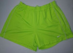 Womens Nike Dri Fit Shorts Size Large L Yellow Elastic Waist $17.97