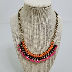 Chain Pink Necklace Orange Thick Statement Gold Tone Black Cord Bib Chunky $18.19