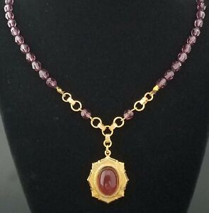 VICTORIAN STYLE KNOTTED Necklace Pendant VINTAGE CZECH AMETHYST Beads Cabochon $32.00