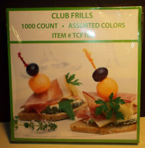 1000 4 Club Frill Toothpicks Wooden Food Cocktail Party Sandwich Picks Frills