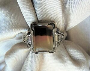 ANTIQUE SIGNED OSTBY BARTON TITANIC ORNAMENTAL STERLING AGATE GEMSTONE RING $145.00