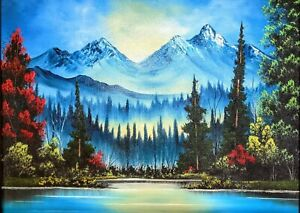 Original Signed Mountain Landscape Oil Painting 18x24 Canvas Bob Ross Style $150.00