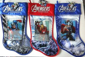 Avengers Lithograph Christmas Stocking 18quot; Set of 3 Embroidered Satin New $29.87