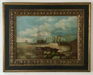 Antique painting W. Ward Sailing ships Boats Harbor Oil on canvas AH925 $200.00