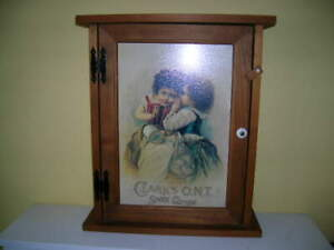 VINTAGE STYLE WOOD CLARKS ONT O.N.T. SEWING WALL OR FREE STANDING CABINET $50.00