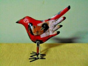 Recycled Metal Bird Figurine Iron Steal Garden India red Shabby chic 8quot; rustic $19.99