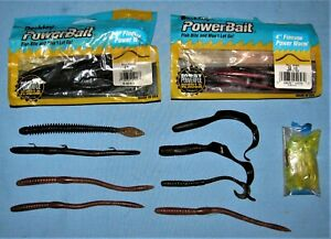 57 Fishing Plastic PowerBait Worms Some New Some Used All Very quot;Fishablequot;