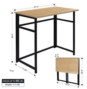 Folding Table Fold in Half Computer Desk Rectangle Laptop Table for small room.
