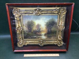 Antique Victorian Oil Painting w Gold Gilt Wood Ornate Frame in Shadow Box $295.00